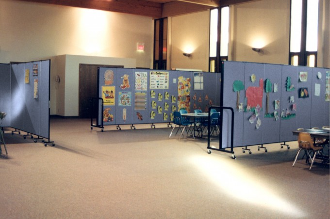 3 Room Dividers create multiple Sunday School classrooms in a large open fellowship hall