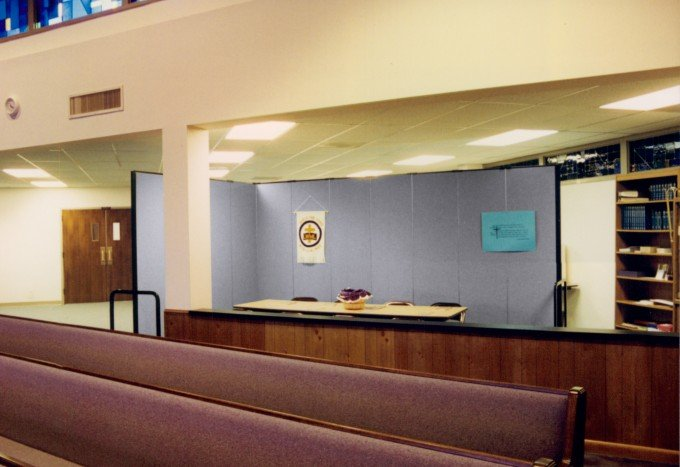 Room Divider provides division between church sanctuary and a temporary classroom