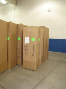 Rows of shipping cartons