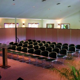 Room dividers create a smaller space for worship for women's bible study