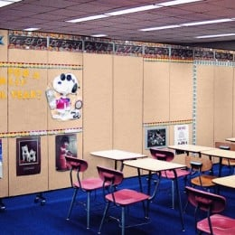 A Screenflex Room Divider divides a classroom into two rooms