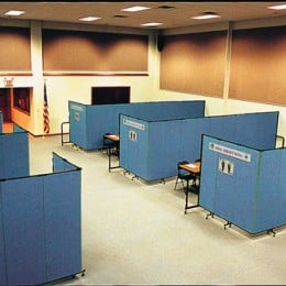 Large room converted into training rooms with room dividers