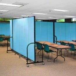 Screenflex Room Dividers separates a fellowship hall into multiple classrooms