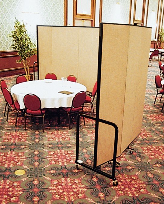 Screenflex Room Divider around a round table and chairs in a banquet hall