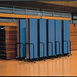 10 Screenflex Room Dividers closed and ready for storage