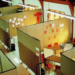Room dividers create Sunday school classrooms in a large open space
