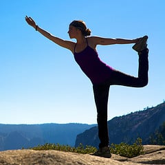 Yoga on a mountain