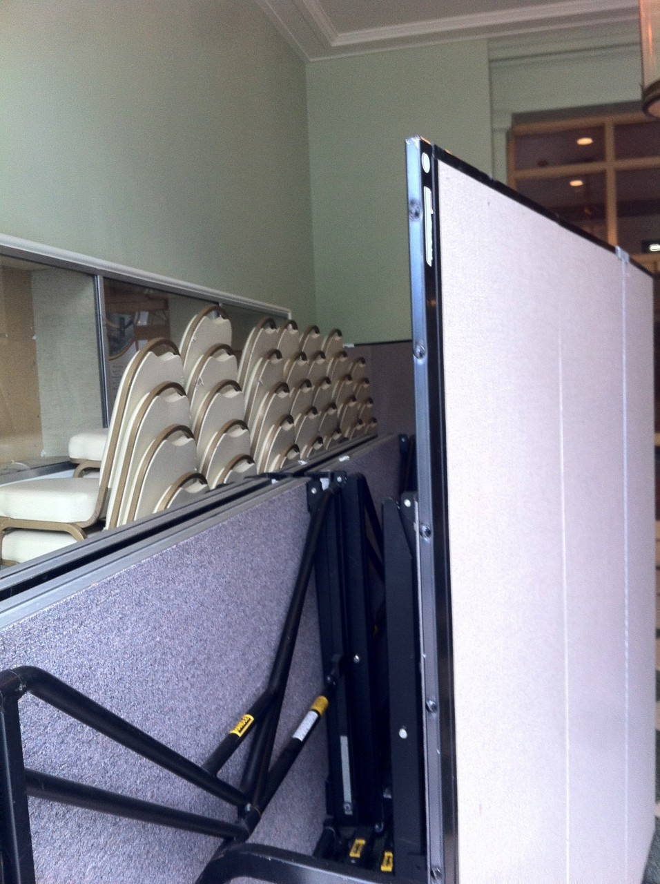 Screenflex Room Dividers as a barrier to a storage space
