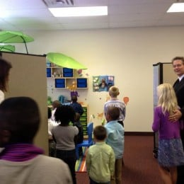 Students and staff view a newly decorated Sunday School room