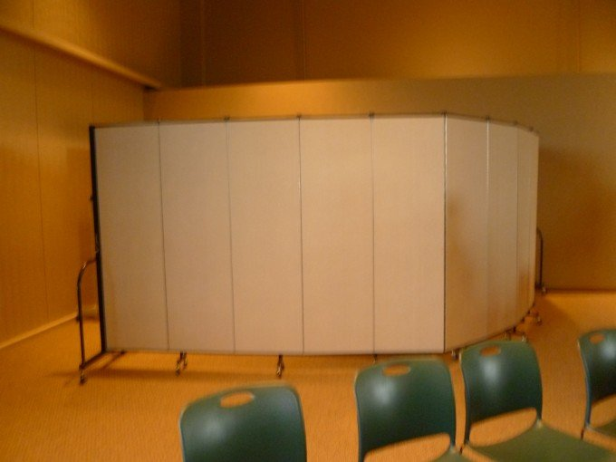 A Screenflex partition used to create a mobile Sunday school classroom