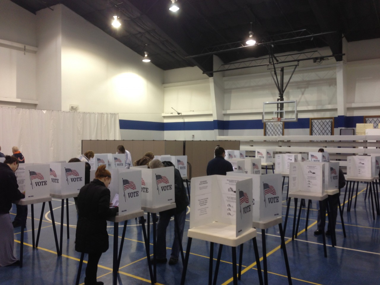 Rows of voting booths in a gym on election day