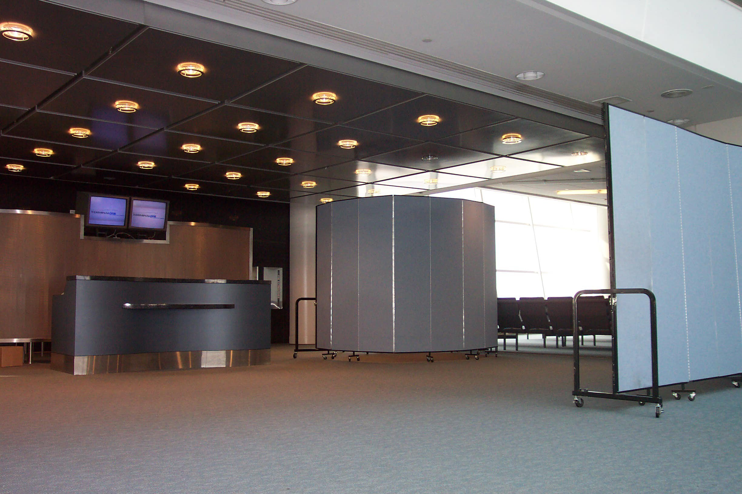 A screening area created at a departure gate