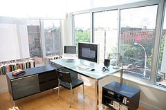 Room dividers divide office and exercise space