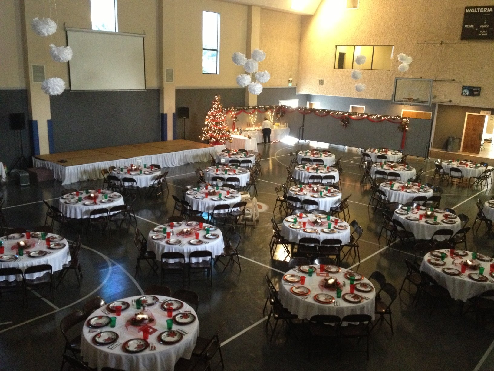 Women's Christmas banquet in a church gym