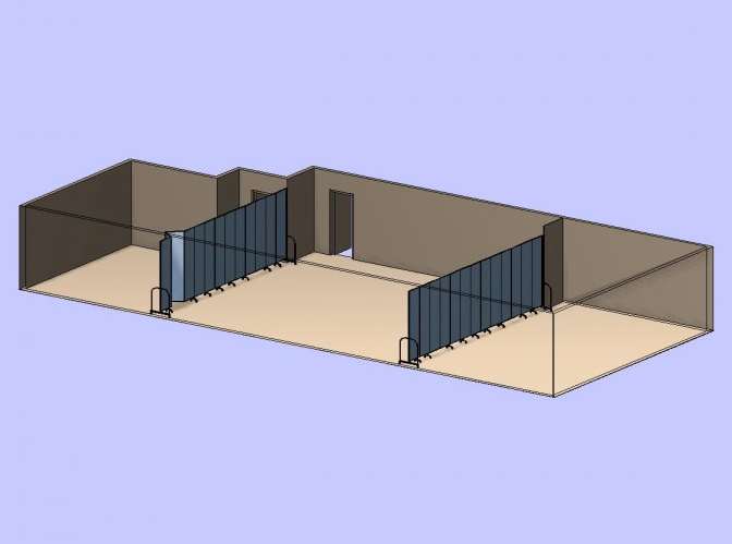 A virtual image of two folding partition walls separating a room into three classrooms