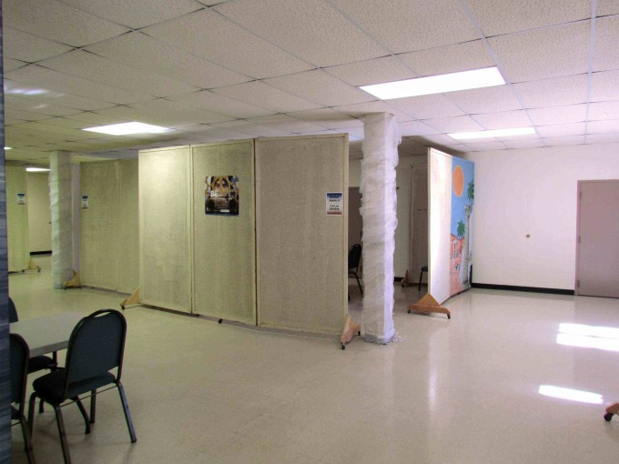 homemade partitions create classrooms