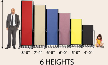 FREEstanding comes in 6 different heights:  8ft, 7ft-4in, 6ft-8in, 6ft-0in, 5ft-0in, 4ft-0in