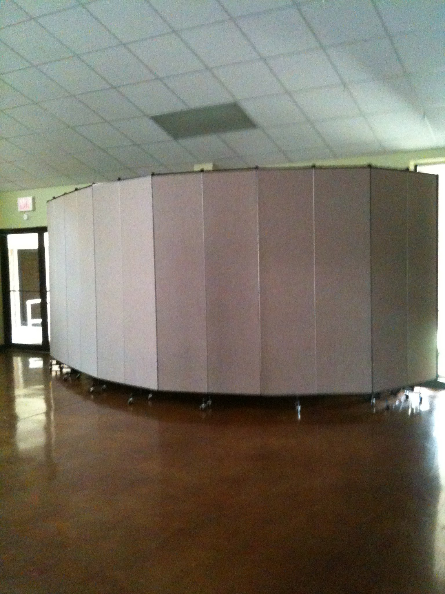 Room Divider hiding tables and chairs