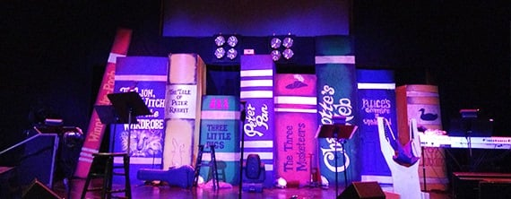 Giant Books via Church Stage Design Ideas