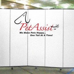 Personalized logo of Pet Assist on a 5 panel white Screenflex Room Divider