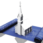 A white church image on a blueprint