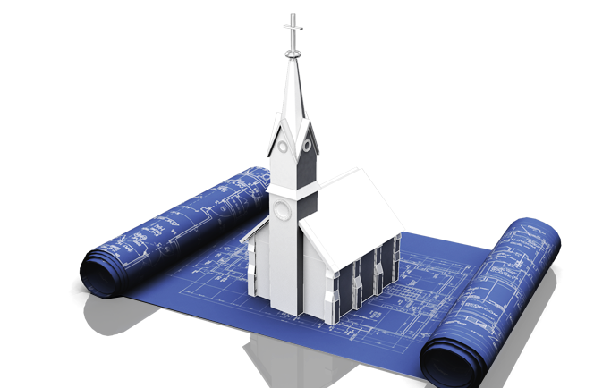 Using space efficiently in your church screenflex partitions a white church image on a blueprint malvernweather Choice Image
