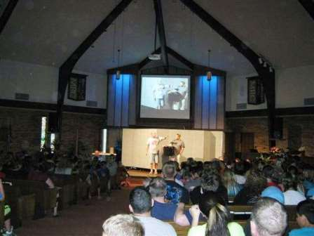 Church portable walls are used as a backdrop for a VBS camp