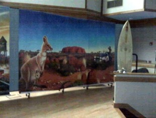 A mural of a kangaroo tacked to a Screenflex Room Divider being used for VBS backdrop