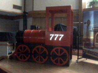 Oldfashioned red coal train engine stage prop