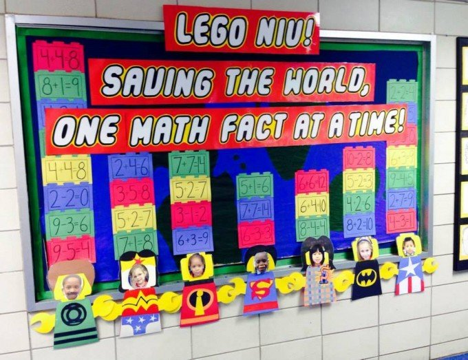 Lego themed math bulletin board screenflex room dividers for Idea door primary 2014
