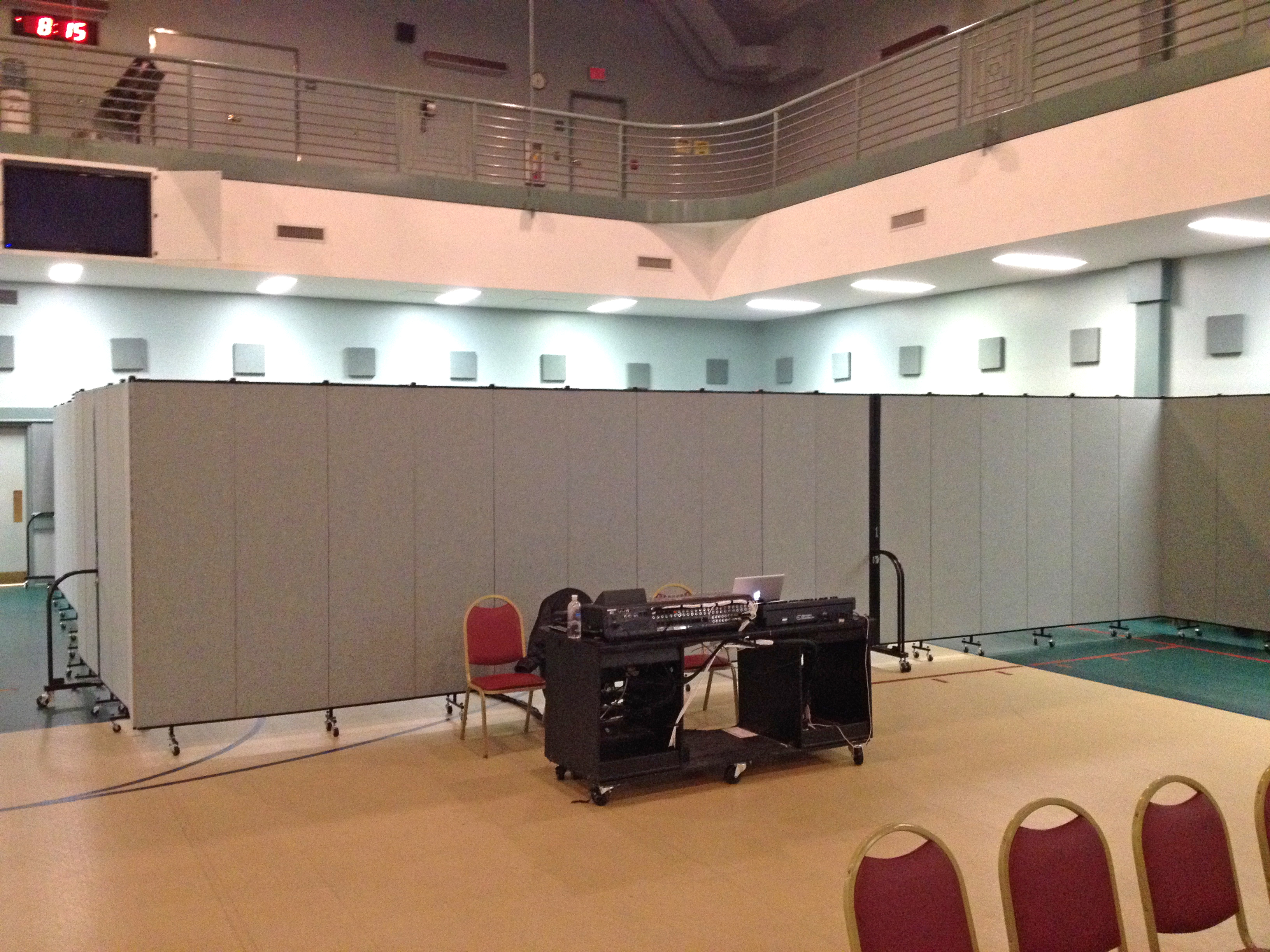 Room Dividers are used in rented school gym to create a church sanctuary and classroom.