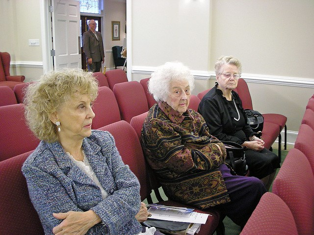 Women waiting for the church service to begin