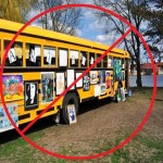 student artwork displayed on a school bus