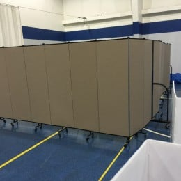 Private area for polling place workers and equipment.
