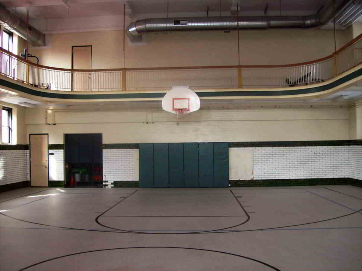 Room dividers creating classrooms in a school gym