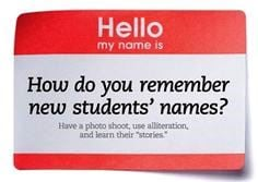 Hello my name is tag with how do you remember new students' names? written on it.