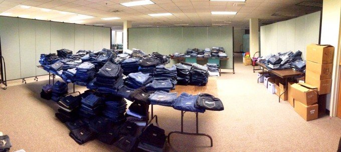 Sorted jeans on tables at the St. Vincent de Paul Society Clean Jeans Drive