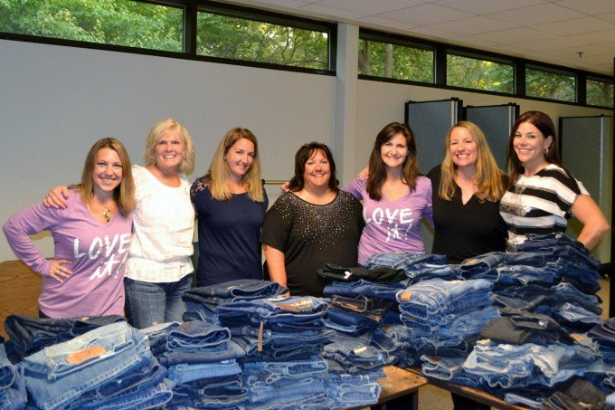 Volunteers for the St. Vincent de Paul Society Clean Jeans Drive