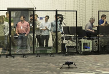 Clear Room Dividers provide a safety barrier at a drone demonstration