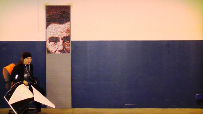 Screenflex acoustical panel Abraham Lincoln thumbtack project