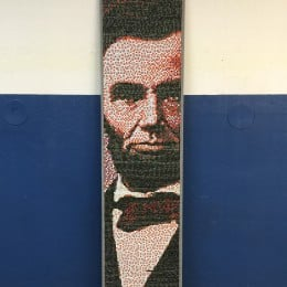 Abraham Lincoln's image in thumbtacks