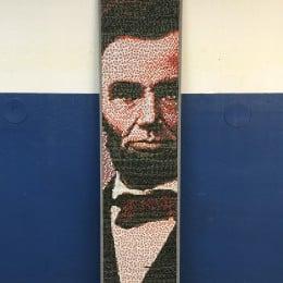 Abraham Lincoln's image in thumbtacks