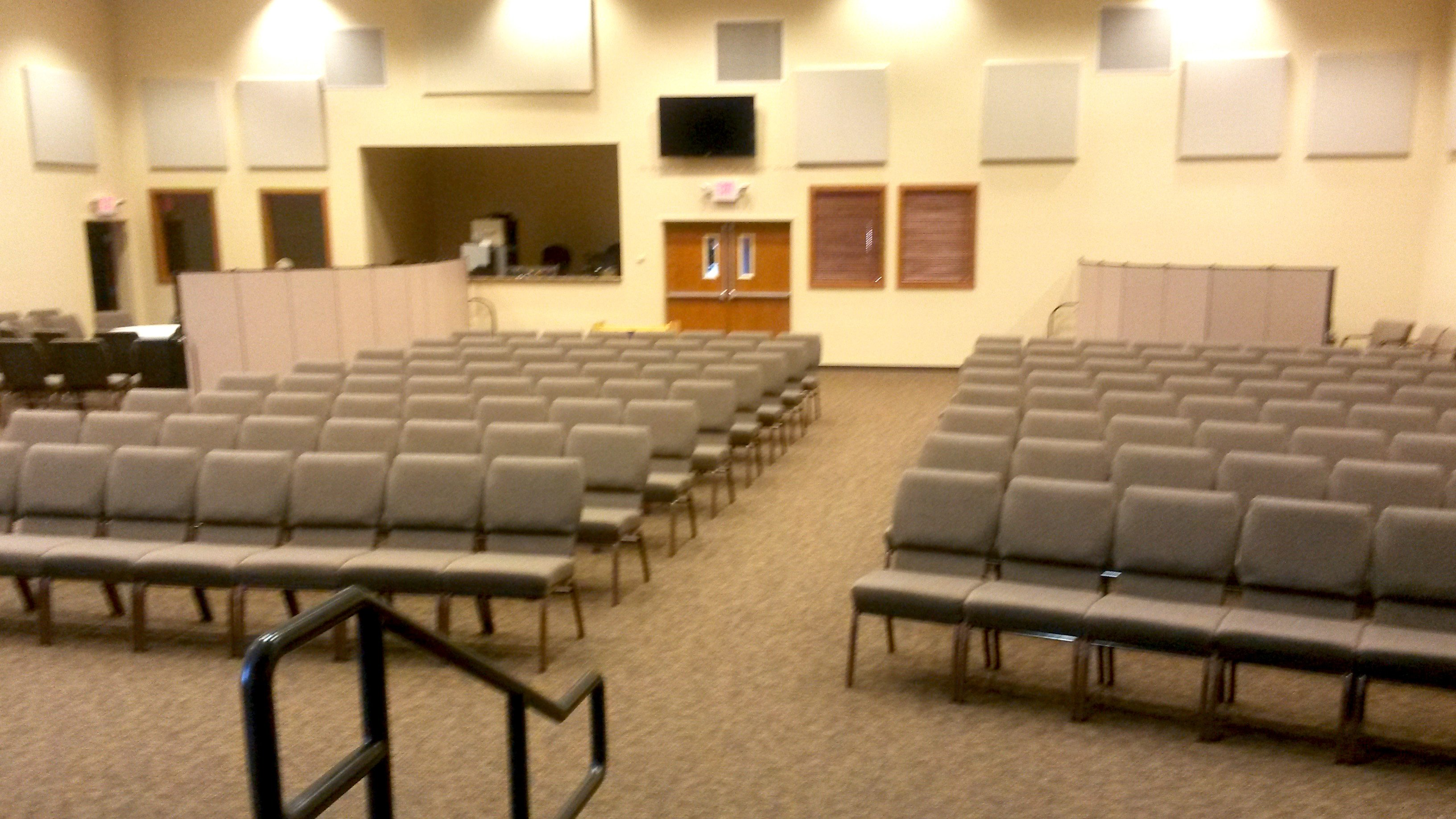 Room dividers convert a portion of the Grace Valley CRC sanctuary into smaller classrooms