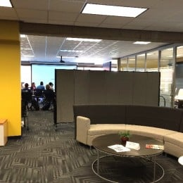 Marian University Media Center is divided by a room divider to create two rooms