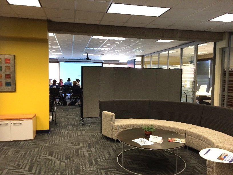 Marian University Media Center is divided by a room divider to create a private reception room