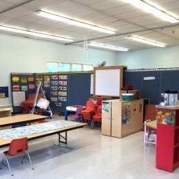 Two rooms in the Oak Hill Christian Nursery School created in a large room with the help of portable walls