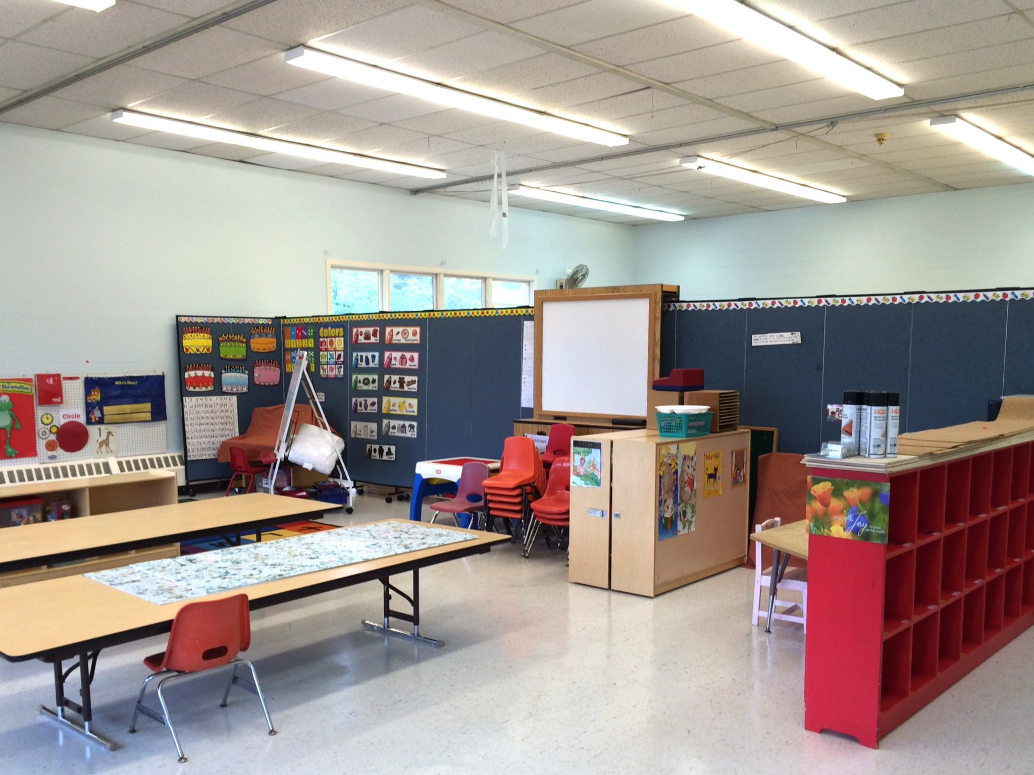 Oak Hill Christian Childcare Rooms created in a large room with the help of portable walls