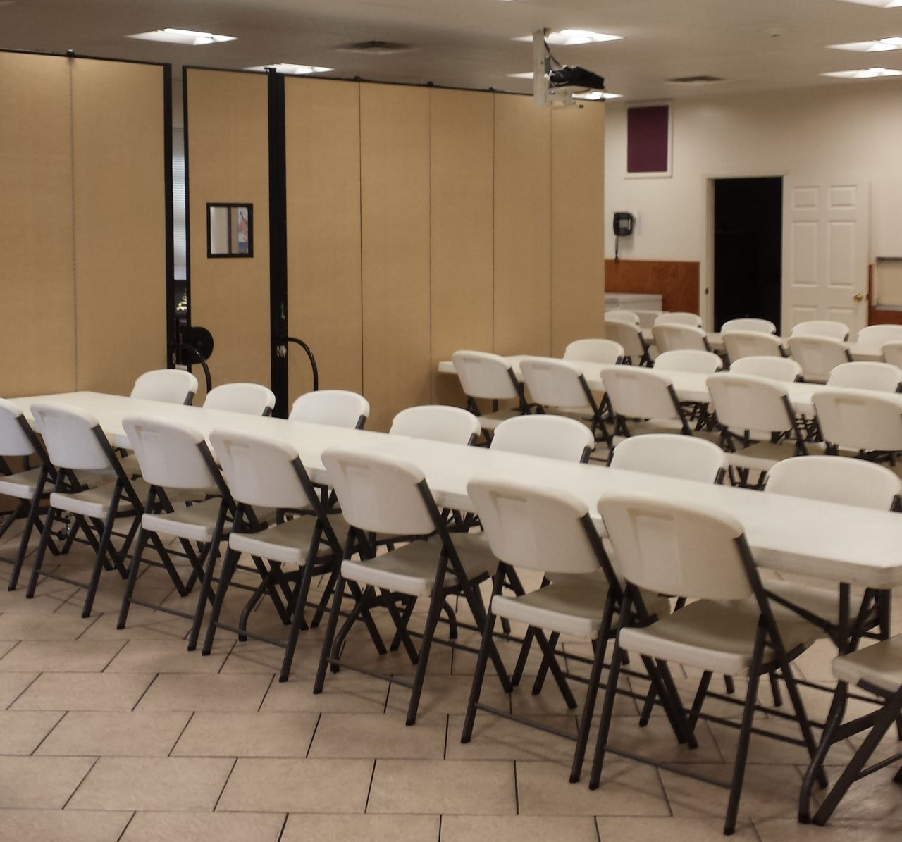 Portable partitions used to create a separation between two banquet rooms