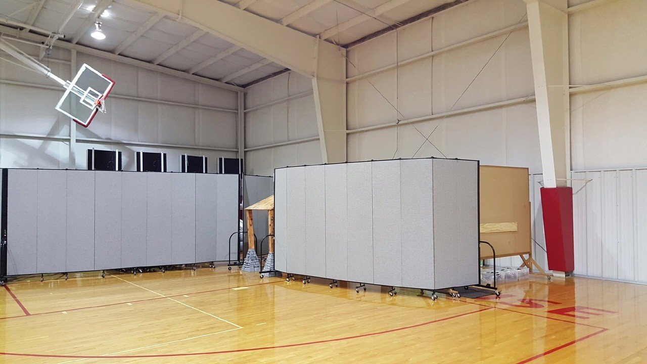 Room Dividers create classrooms and play rooms in a gym