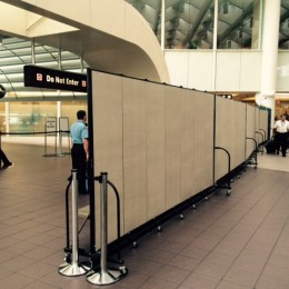 Screenflex Divider Secures a portion of the Orlando Airport